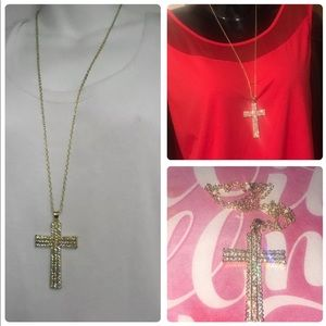 LARGE CRYSTAL CROSS RELIGIOUS NECKLACE